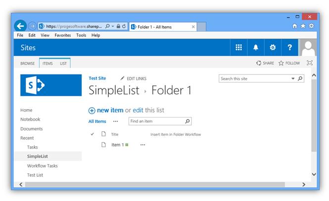 Item in Folder- Item Workflow Completed