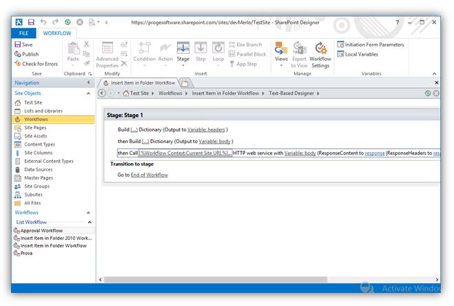 Item in Folder - Workflow